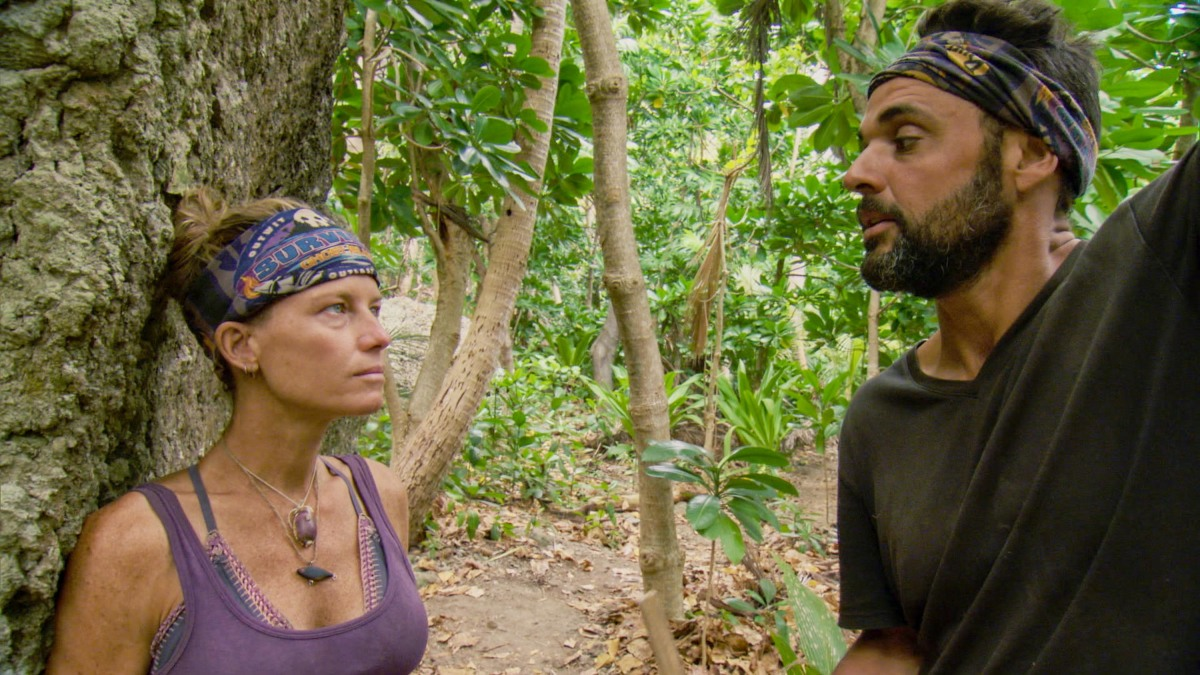 """""""It Is Game Time Kids"""" - Angela Perkins and Domenick Abbate on the fourteenth episode of Survivor: Ghost Island, which is a two-hour season finale airing Wednesday, May 23 (8:00-11:00 PM, ET/PT) on the CBS Television Network. Photo: Screen Grab/CBS Entertainment ©2018 CBS Broadcasting, Inc. All Rights Reserved."""