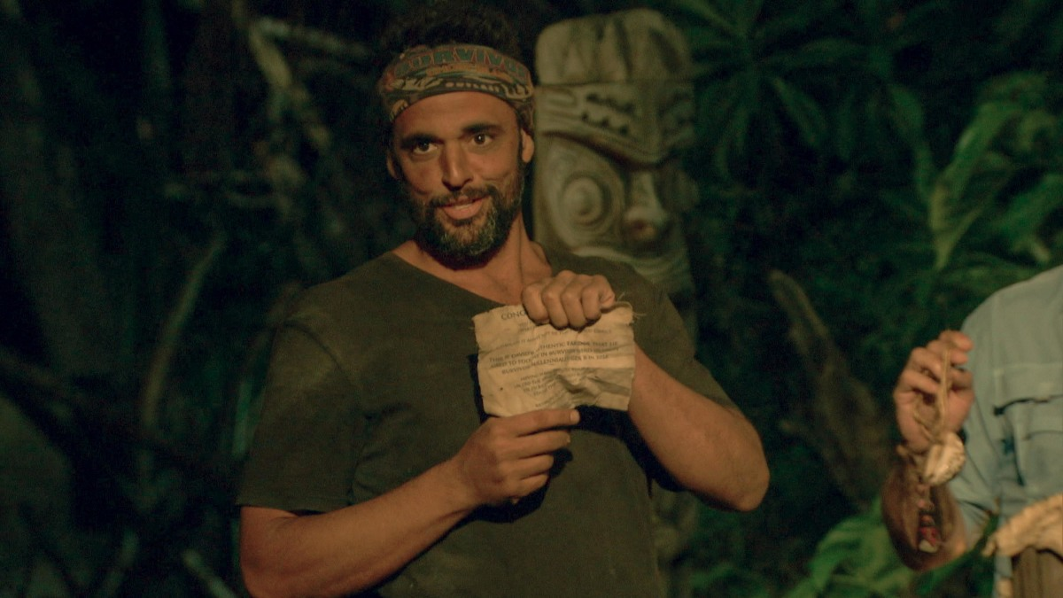 """""""It Is Game Time Kids"""" - Domenick Abbate at Tribal Council on the fourteenth episode of Survivor: Ghost Island, which is a two-hour season finale airing Wednesday, May 23 (8:00-11:00 PM, ET/PT) on the CBS Television Network. Photo: Screen Grab/CBS Entertainment ©2018 CBS Broadcasting, Inc. All Rights Reserved."""