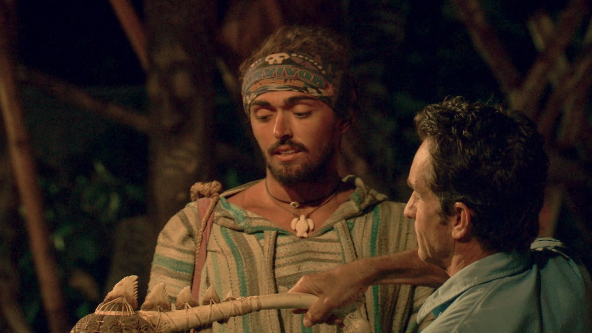 """""""It Is Game Time Kids"""" - Jeff Probst extinguishes Sebastian Noel's torch at Tribal Council on the fourteenth episode of Survivor: Ghost Island, which is a two-hour season finale airing Wednesday, May 23 (8:00-11:00 PM, ET/PT) on the CBS Television Network. Photo: Screen Grab/CBS Entertainment ©2018 CBS Broadcasting, Inc. All Rights Reserved."""