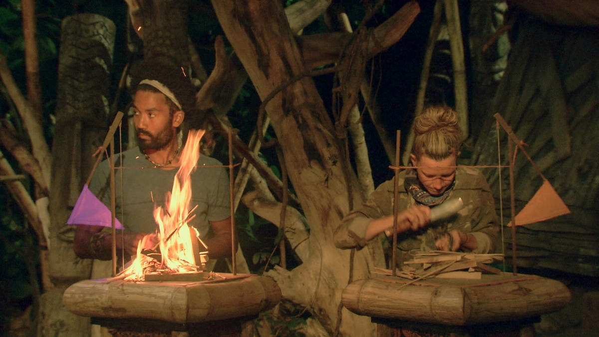 """""""It Is Game Time Kids"""" - Wendell Holland and Angela Perkins at Tribal Council on the fourteenth episode of Survivor: Ghost Island, which is a two-hour season finale airing Wednesday, May 23 (8:00-11:00 PM, ET/PT) on the CBS Television Network. Photo: Screen Grab/CBS Entertainment ©2018 CBS Broadcasting, Inc. All Rights Reserved."""