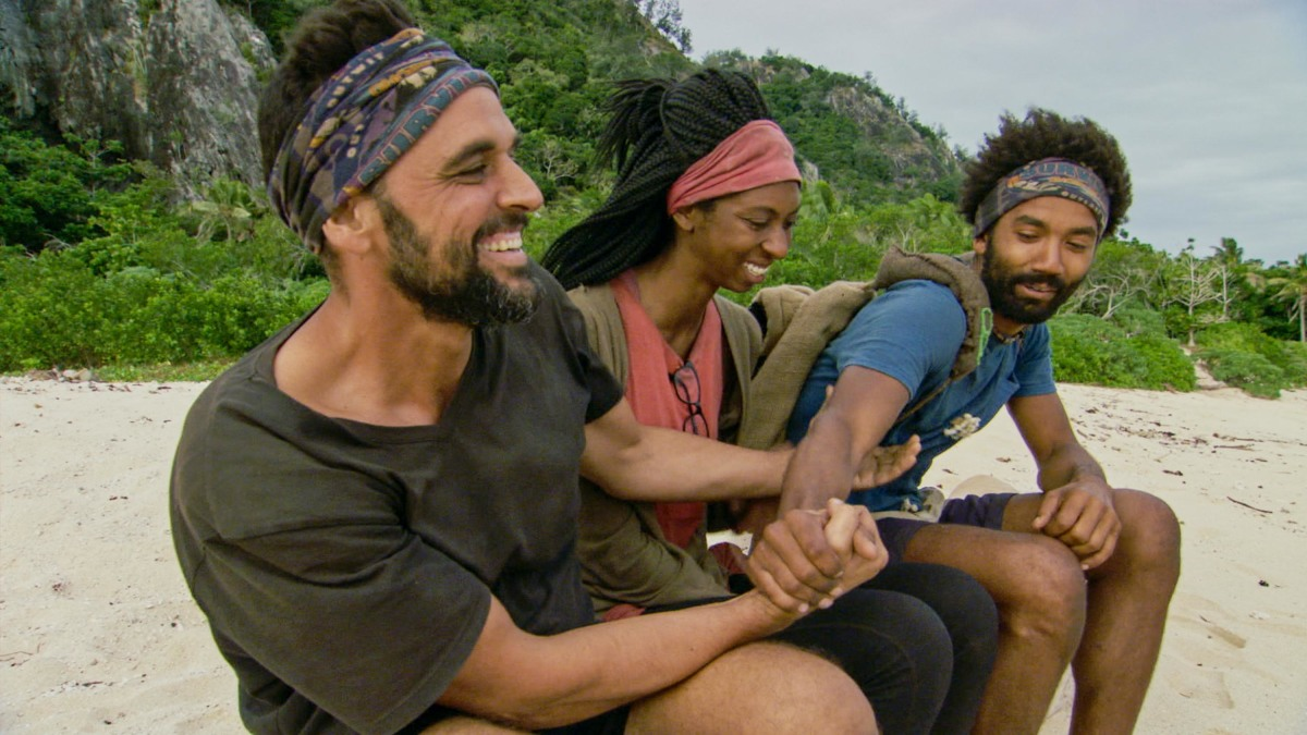 """""""It Is Game Time Kids"""" - Domenick Abbate, Laurel Johnson and Wendell Holland on the fourteenth episode of Survivor: Ghost Island, which is a two-hour season finale airing Wednesday, May 23 (8:00-11:00 PM, ET/PT) on the CBS Television Network. Photo: Screen Grab/CBS Entertainment ©2018 CBS Broadcasting, Inc. All Rights Reserved."""
