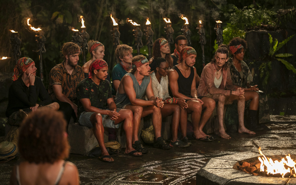 Manumalo at their second Tribal Council as Meryl watches on